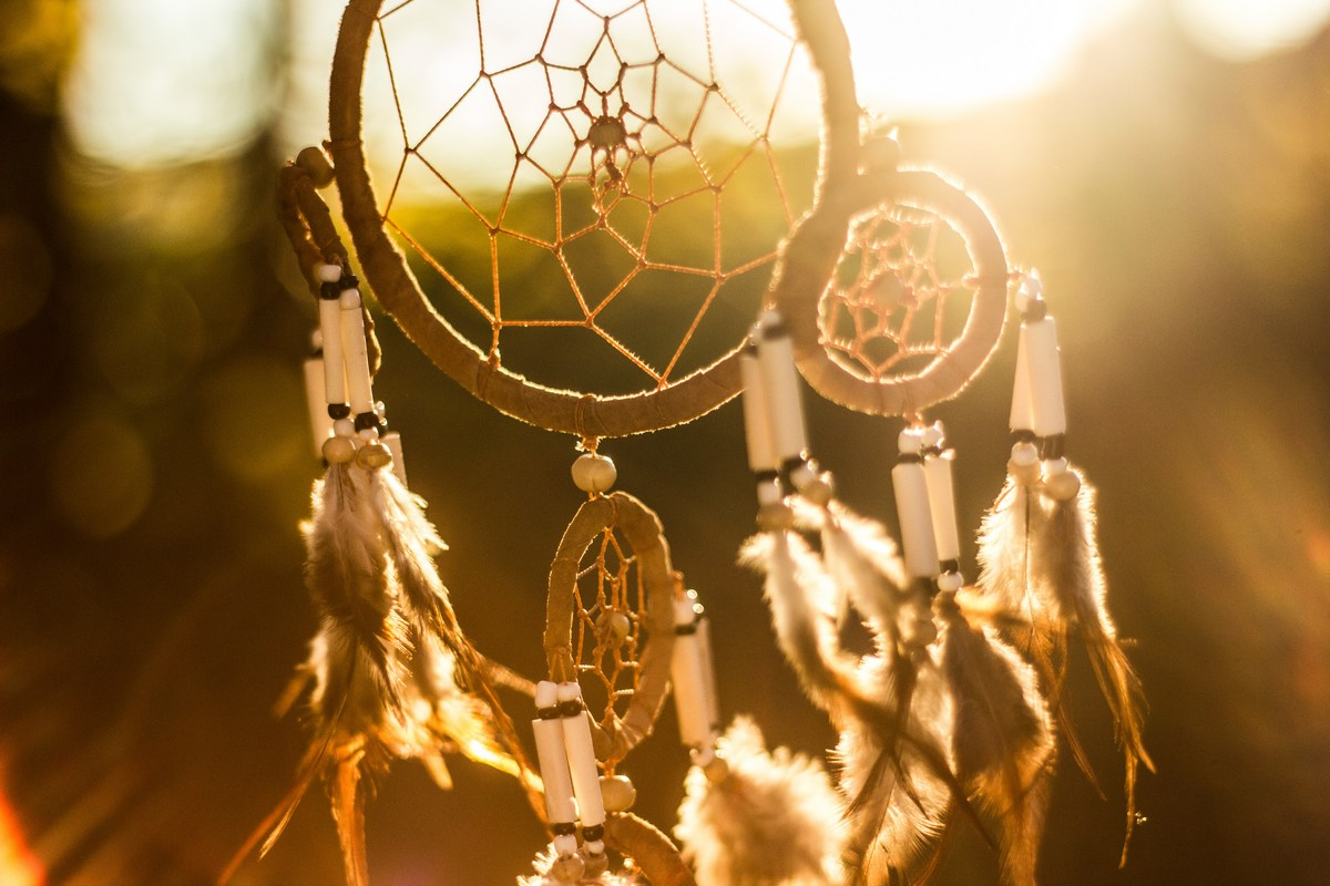 Picture of a handmade dream-catcher with feathers blowing in the wind
