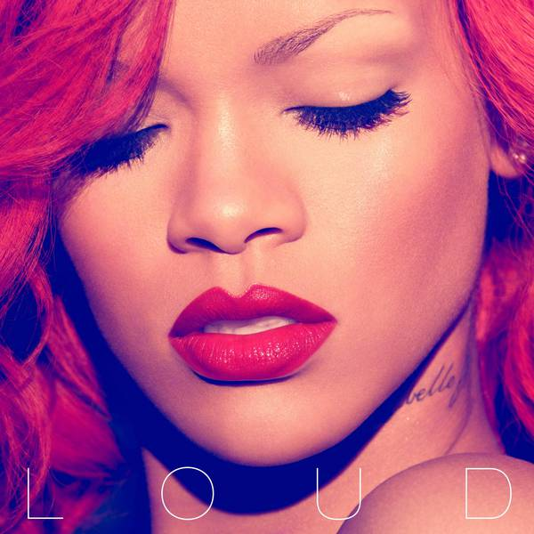 Picture of Rihanna on album art for Loud CD