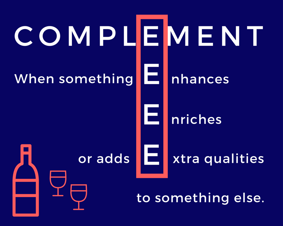Picture of memory trick for complement to explain compliment or complement
