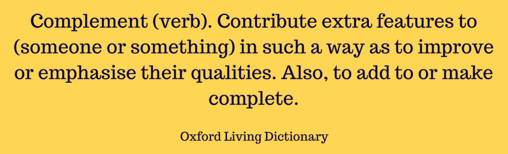 Picture of dictionary definition for complement, verb form, to explain compliment or complement