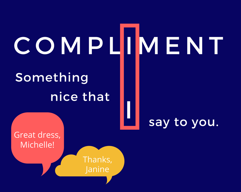 Picture of memory trick for compliment to explain compliment or complement
